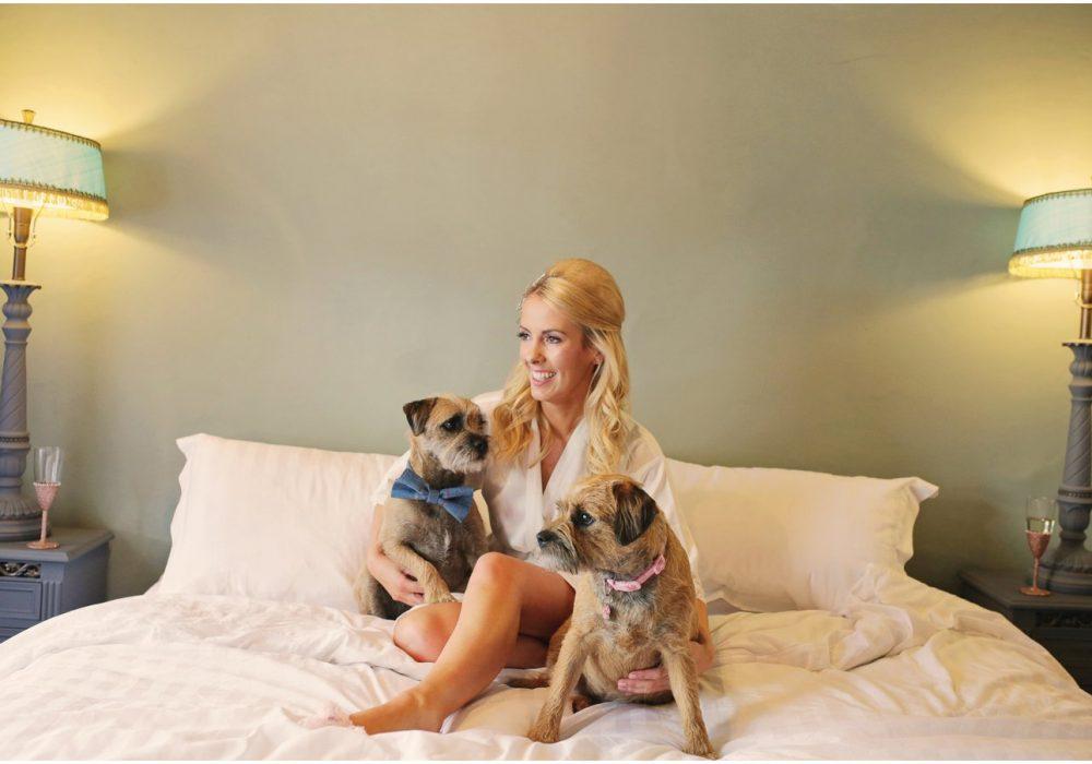LPC Bride gettign ready with dogs